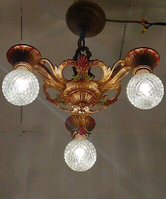 Antique 1920s Ceiling Chandelier ART DECO cast metal 3 lights, gold red green