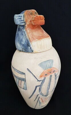 Rare Ancient Egyptian Canopic Jar Hapy antique statue Late Period (715-332 B.C.)