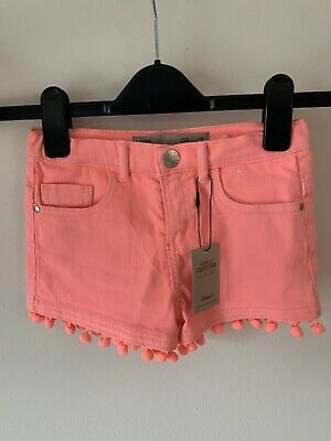 Girls Age 5-6 Primark Pink Bobble Denim Jean Shorts New With Tags