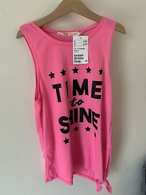 Girls H&M Bright Pink Vest Top New With Tags Time To Shine