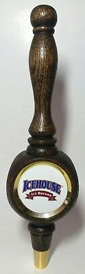 Icehouse Ice Brewed Tap Handle Beer Knob Wood Three Sided 12 inches Vintage