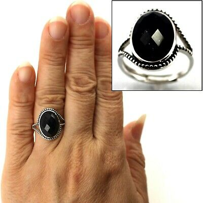 Blue Sandstone Solitaire Ring Hand-Crafted of Sterling Silver .925 TPJ
