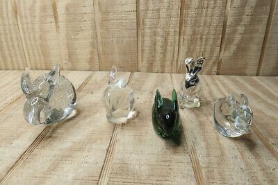 Lot of 5 Glass Rabbits Paperweights Knick Knack Collectibles: One Fenton