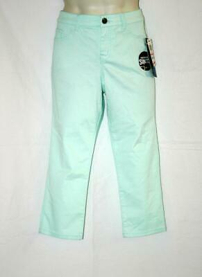 Style & Co Petite 10P Womens Capri Pants Aqua Tummy Slimming Slim Leg NWT