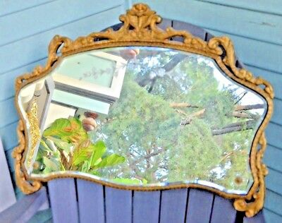 """Antique Victorian Etched Flower Mirror  Ornate Wood Frame 20"""" tall"""