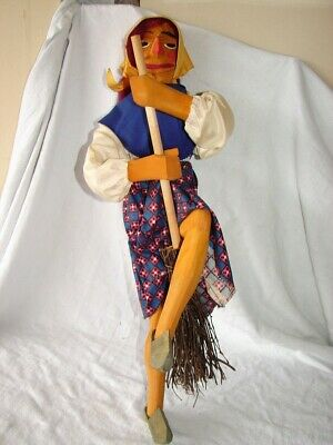 Vintage Hand Carved German Kitchen Witch Wood Wooden Folk Art Carving Figure