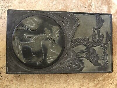 Antique Chinese Duan Stone Black+Green Ink Slab Heavy 7 Pound
