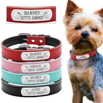 Personalised Dog Leather Collars Dog ID Tags Engraved Small Medium Dog Chihuahua