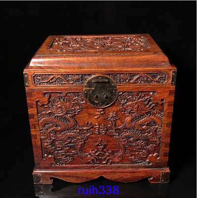"""12.92"""" Asia China old antique Royal Court Rosewood carving Dragon pattern box"""