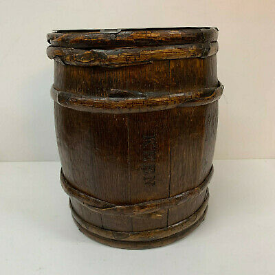 Oak Box Staved Barrel Keens Mustard Antique Vessel Kitchenalia 19th century