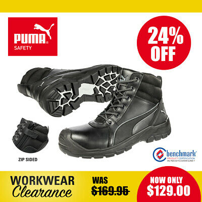 Puma Safety Work Boots with Zip and Toe Cap 630797 Tornado Black NEW with tags