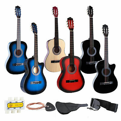 """34"""" 38"""" New Strung Acoustic & Electric Guitar 6 Strings with Bag & Strap"""
