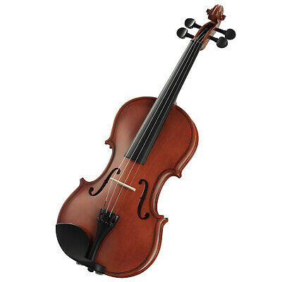 4/4 Size Acoustic Violin Fiddle Bow Rosin Bridge Strings Brown With Case Set