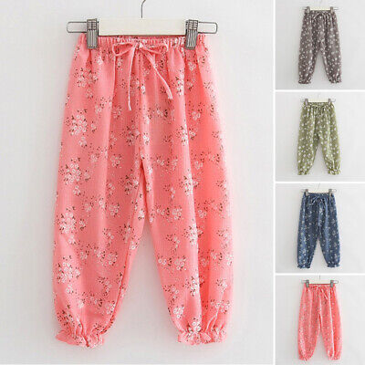 Girls Toddler Lovely Floral Printed Harem Bottoms Trousers Summer Beach Pants