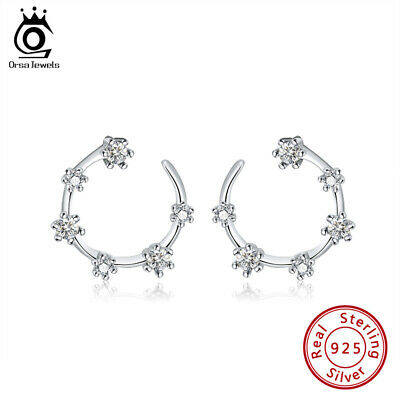 Six Round Cubic Zirconia Loop Design Stud Earrings S925 Silver Girl Jewelry Gift