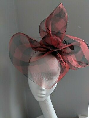 Red And Black Check Crinoline Fascinator, Races And Weddings
