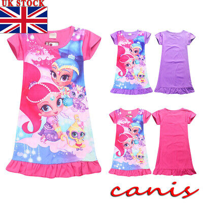 4-10Y Kids Girls Cartoon Dress Sleepwear Nightwear Nightdress Pyjamas Nightie