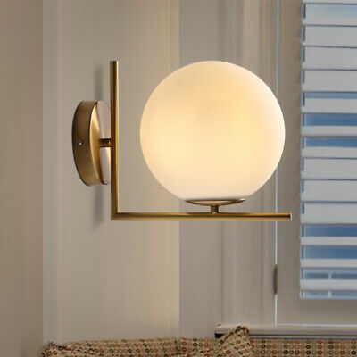 Minimal White Glass Globe LED Brass Linear Indoor Wall Lights Reading Sconces