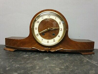 Vintage 8 Day Napoleon Hat Mantle Clock with Hour Strike