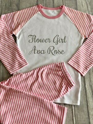 PERSONALISED FLOWER GIRL PYJAMAS, Wedding Pink and White PJs Silver Glitter Name