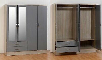 Nevada 4 Door 2 Drawer Mirrored Wardrobe in Grey Gloss/Light Oak Effect Veneer