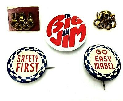 VTG Antique Lot Pin Pinback USA Olympic Political Buttons 1930s Go Easy Mabel