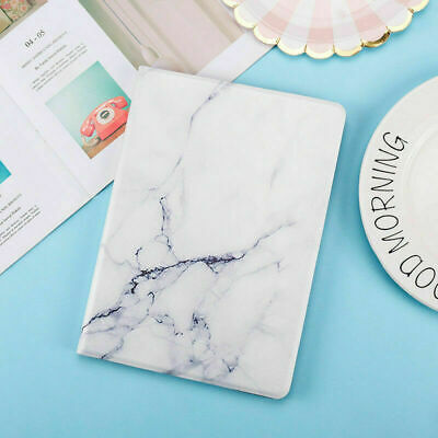 Marble Case For iPad 9.7 2018 Mini 1 2 3 4 5 Stand Folding Smart Magnetic White