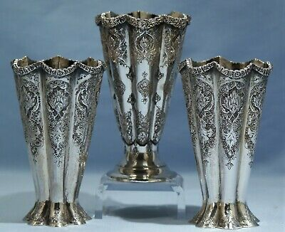Persian 840 Silver Engraved Three Goblets/Bud Vases Early 20th Century