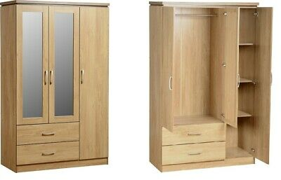 Charles 3 Door 2 Drawer Mirrored Wardrobe In Oak Effect Veneer Free Delivery