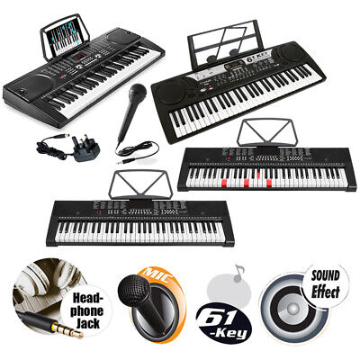 Full Size 61 Keys Electronic Lighted Keyboard Piano MP3 Music Microphone & USB