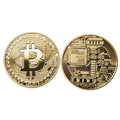 10pcs Bitcoin Commemorative Round Collectors Coin Bit Coin is Gold Plated Coin