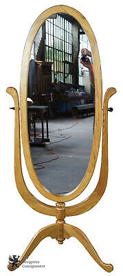 Vintage Oak Full Length Cheval Dressing Mirror Oval Free Standing Victorian
