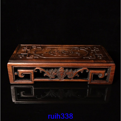 "14""Collection Asia Old China antique Rosewood carving Moire Incense burner table"