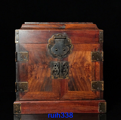 """10.2"""" Old China antique Rosewood Flower face pattern Treasure chest"""