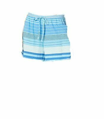 $90 Ralph Lauren Women Blue White Cotton Striped Drawstring Pajama Shorts Size L