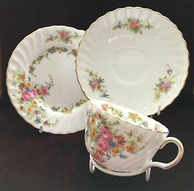 Lorraine Minton Bone China Trio Cup/Saucer/Tea Plate In Vgc Vtg