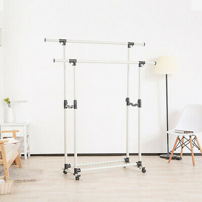 Heavy Duty Height Adjustable Clothing Rail Garment Clothes Rack Stand 4 Wheels