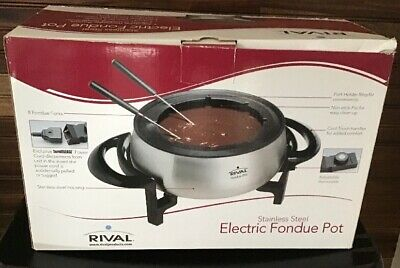 Rival Stainless Steel Electric Fondue Pot 8 Fondue Forks Holder Ring New In Box