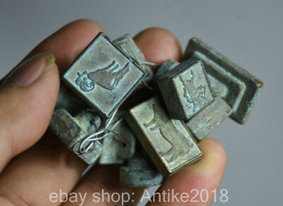 3CM Old Chinese Bronze Dynasty 12 Zodiac Animals Mini Seal Signet Stamp Set