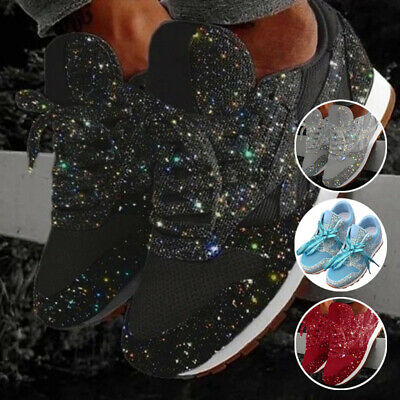 Women Shoes Casual Sequin Glitter Low-Top Sneaker Lace Up Athletic Gym Trainer