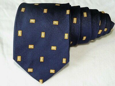 """Brooks Brothers MEN'S TIE NAVY BLUE, YELLOW/SQUARE  3.75"""" 57"""" USA"""