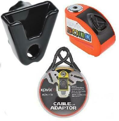 Kovix KD6 Alarmed Disc Lock Flo Orange + Cable Adaptor + Carry Holder