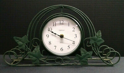 "Ingraham Wire-Framed Mantle Clock, Quartz, Green, Leaf Pattern, 14"" Long"