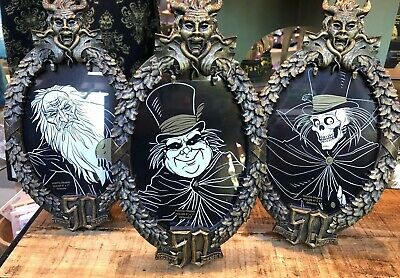 3 Haunted Mansion Picture Frames 50th Anniversary Hatbox & Hitchhiking Ghosts