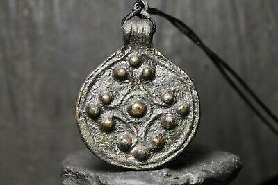 Antique Bronze Viking Solar Pendant , Unique Ancient Amulet, 6-11th Century AD.