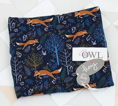 PEONY FOX SCARF Navy Blue Forest Trees Animal Foxes Ladies Scarves Gifts UK