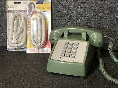 Vtg WESTERN ELECTRIC BELL 2500 DMG Touch Tone Telephone Avocado Green •🍃Mint•