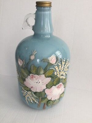 Duraglas Jug Gallon Hand painted Art Florals Shabby And Chic Glass