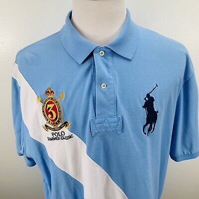 Polo Ralph Lauren Mens Embroidered Logo Big Pony Logo Shirt Size 2XB Blue EUC