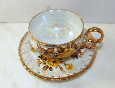 Vintage Tea Cup Saucer Royal Sealy China Japan Wedding Rings Footed